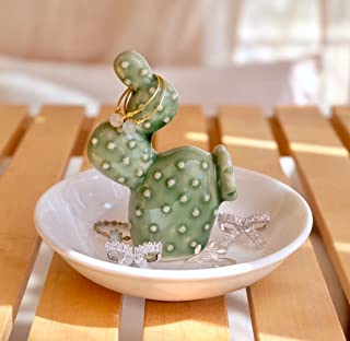 PUDDING CABIN Cactus Ring Holder Dish for Jewelry Ring Tray Christmas Birthday Gift