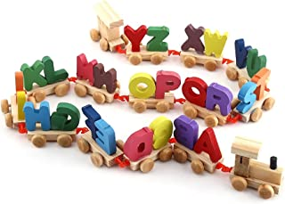 Yosoo Colorful Wooden Alphabet Train Toy Set Kids Educational Toy Alphabetical Assemble Toy Set