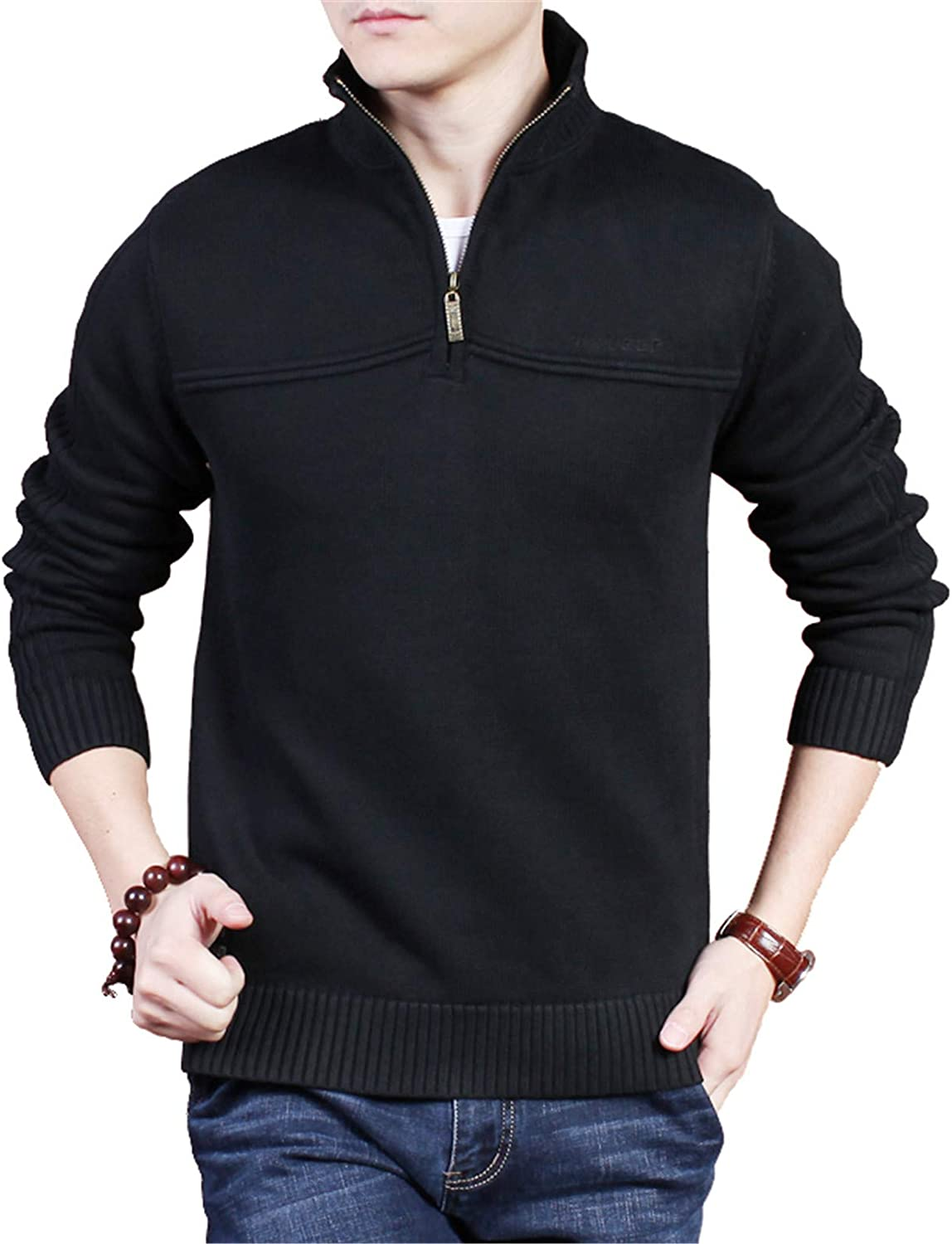 Men's Knitted Pullover Thick Jumpers Sweater Long Sleeve Fall Winter Cotton Warm Cardigans Knitwear Plus Cashmere Outwear,Black,XXXL