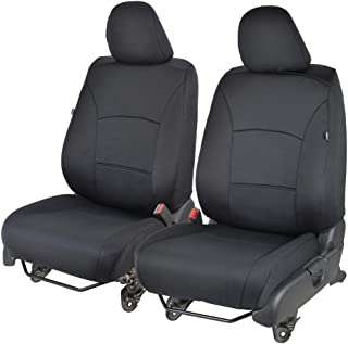 NeoCloth Front Seat Covers for Car - EasyWrap Polyester Padded Comfort & Protection (Solid Black)