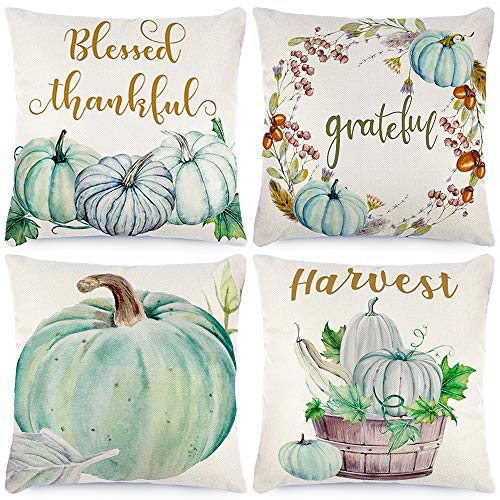 CDWERD 4pcs Fall Pillow Covers Autumn Decorations Pumpkin Farmhouse Throw Pillowcase Fall Decor Grateful Thanksgiving Cushion Cover 18 X 18Inches