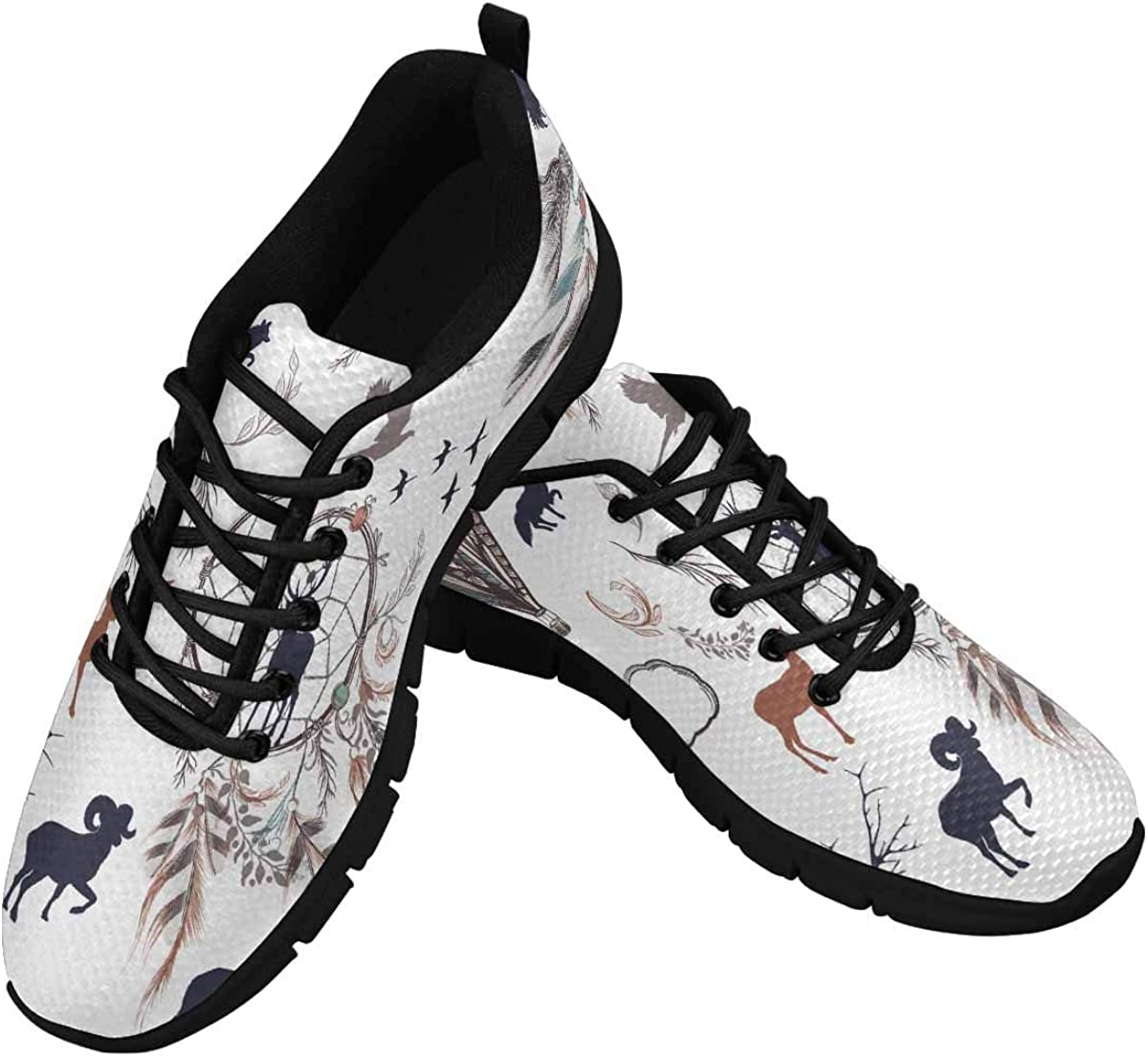 INTERESTPRINT Dream Catchers with Feathers Lightweight Mesh Breathable Sneakers for Women