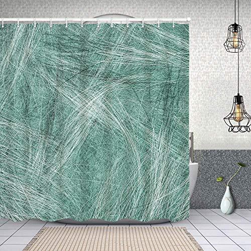 YANAIX Wasserdichter Duschvorhang,grünblauer Hintergr& basierend auf Fellstruktur,Drucken von Badvorhängen mit 12 Haken 150x180cm
