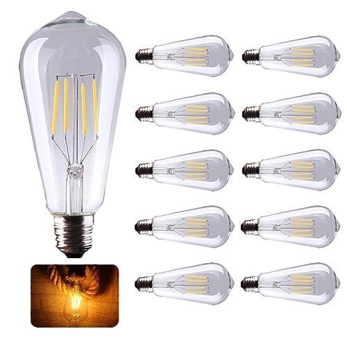 10X Vintage Bombilla de Filamento LED E27 ST64 Bombilla LED 4W E27 Base Edison Bombilla 400