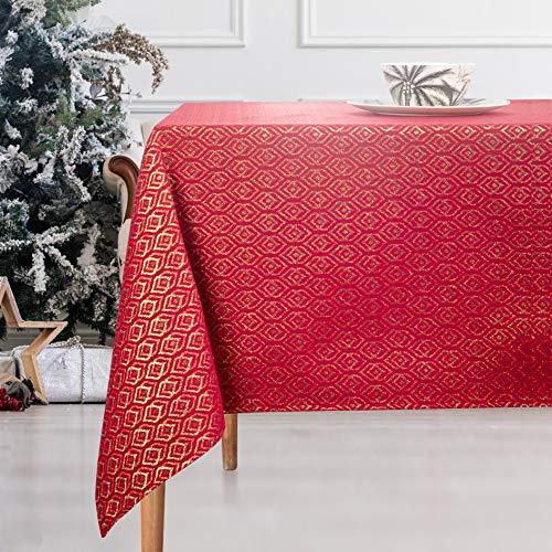 VISTE TU HOGAR Tischdecke mit Goldfaden, 140 x 200 cm, Speziell für Die Inneneinrichtung mit Diamantmuster, Ideal für Weihnachten Oder Andere Besondere Termine, Roter Farbe.