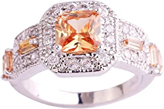 Mavonne 925 Sterling Silver Created Pink Topaz Filled Princess Cut Halo Wedding Ring 1018R8-13