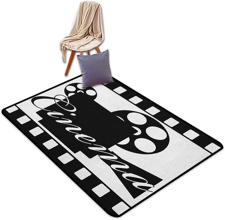 Bedroom Floor Rug Movie Theater Monochrome Cinema Projector Inside a Strip Frame Abstract Geometric Pattern Door Rug Increase W4'xL6'