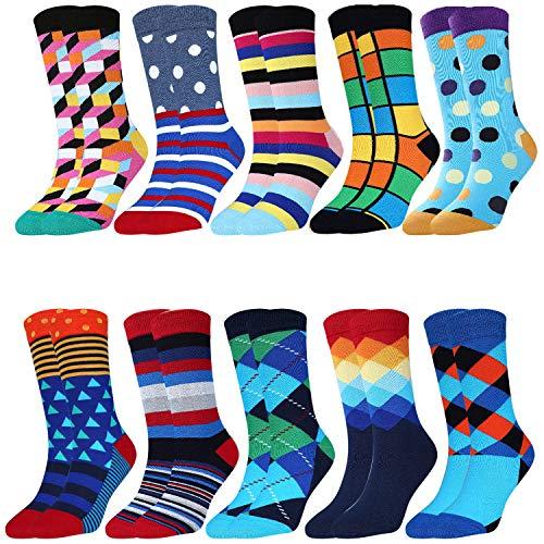 Jielucix Bunte Baumwoll-Socken für Damen, lustig, originell, verrückt, gestreift - Multipack, Größe 39-42