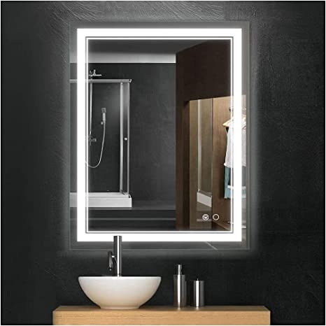 Amazon Com Keonjinn 36 X 28 Inch Led Mirror Bathroom Vanity Mirror Wall Mounted Anti Fog Dimmable Lights Makeup Mirror With Touch Switch Horizontal Vertical Home Kitchen