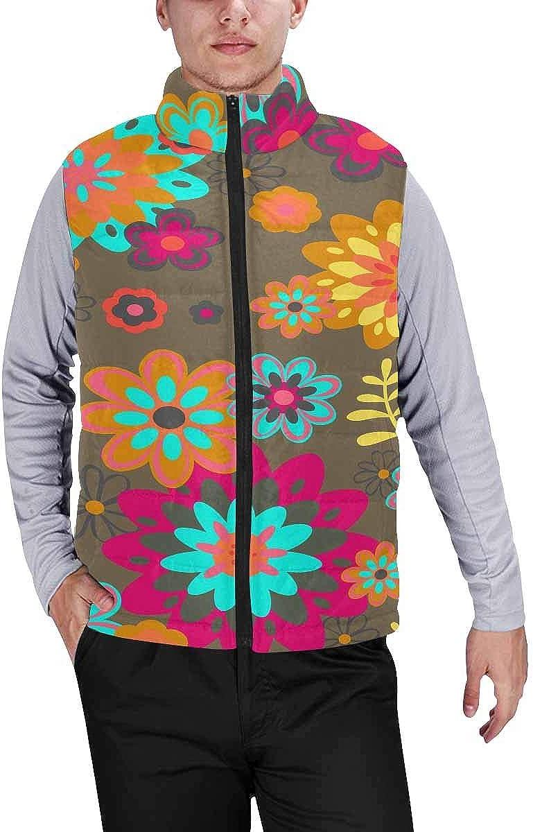 InterestPrint Men's Full-Zip Soft Warm Winter Outwear Vest Cute Vintage Flower Pattern L