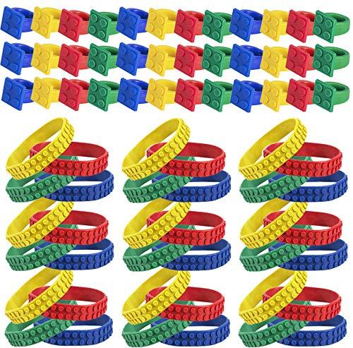Building Blocks Party Supplies – 72 Pc Set - Building Blocks Party Favors - Wristbands & Ring - Building Block Party by Tigerdoe