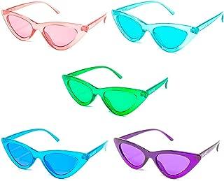 GloFX Cat Eye Sunglasses - 5 Pack - Retro Vintage Mod Fashion Colored Lens UV Protection Glasses