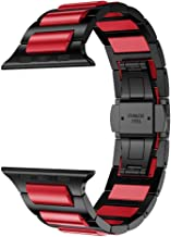RABUZI Compatible Apple Watch Band 44mm/42mm,Hard Anodized 6000 Series Aluminum Red, Black Stainless Steel Metal Link Bracelet Strap Compatible Apple Watch Series 5/4/3/2/1