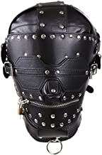 Cosy-L Leather Costume Mask Helmet Adjustable Rubber Club Accessories Full Head Face with the Hole for Mouth