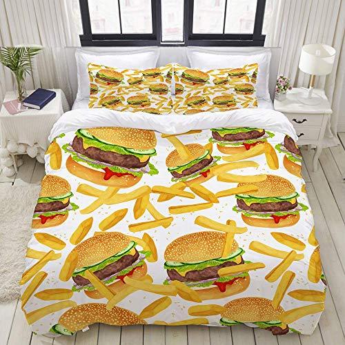 Bettbezug, Hamburger Pommes Bettwäsche 3D Giant Burger 3 Stück Spaß Fast Food Kreative Tagesdecken, Bettwäsche Set Ultra Bequeme leichte Luxus Polyster Bettbezug-Sets (3 Stück)