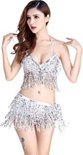Women's Belly Dance Costume Bra Top with Chest & Hip Scarf with Fringe