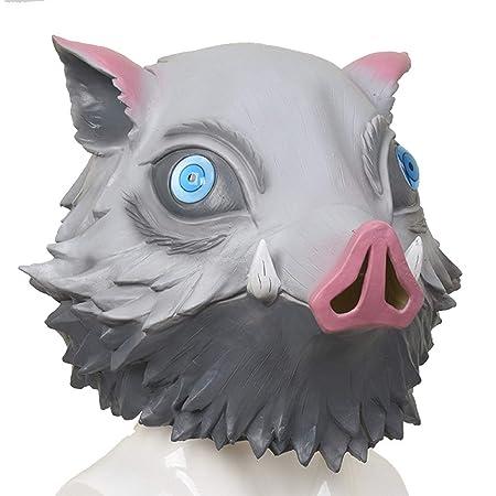 Amycute 嘴平伊之助 いのすけ お面 かぶりもの コスプレ いのししマスク 仮面 ラテックス アニメ 仮装 グッズ 道具