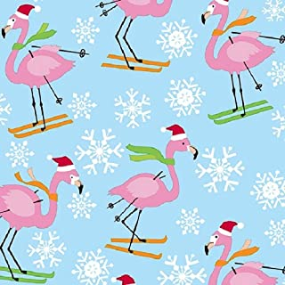 Skiing Flamingos Holiday Gift Wrapping Paper Roll - 24