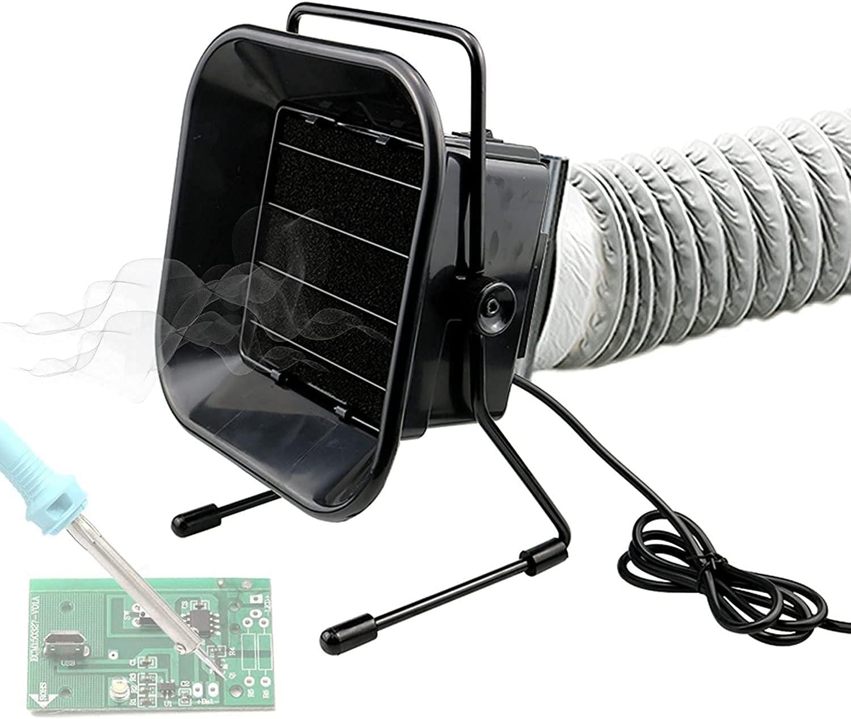 WXFCAS Extractor de humos de soldadura, absorción de humo de soldadura 50W, ventilador de escape de soldadura, filtración de purificación profunda, ángulo de ventilador ajustable, bajo ruido para sold