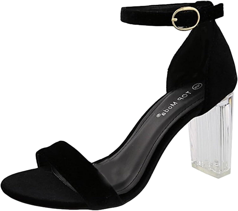 Top Moda Alma-28 Women's Strappy Clear Lucite Platform Heel Sandal