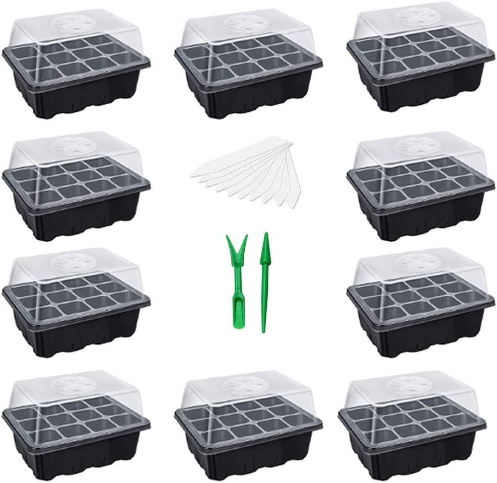 NSWDYLO 10-Pack Seed Starting Trays 120 Cells Insert Hot House Seed Starter Trays Kit for Garden Large Seedling Tray with Humidity Adjustable Lid Dome and Base Seed Greenhouse Tray Germination Dome