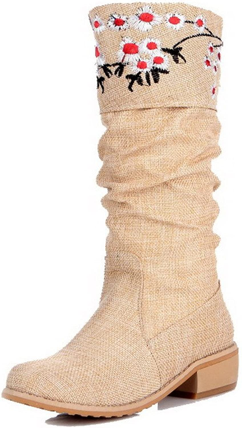 AmoonyFashion Women's Pull-on Low-Heels Blend Materials Embroidered Mid-top Boots