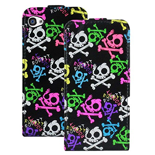 Heartly Designed Premium Luxury Pu Leather Flip Bumper Case Cover for Apple iPhone 4 4S 4G - Cute Multicolor Black