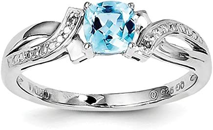 Sterling Silver Light Swiss Blue Topaz and Diamond Ring - Ring Size Options Range: L to R