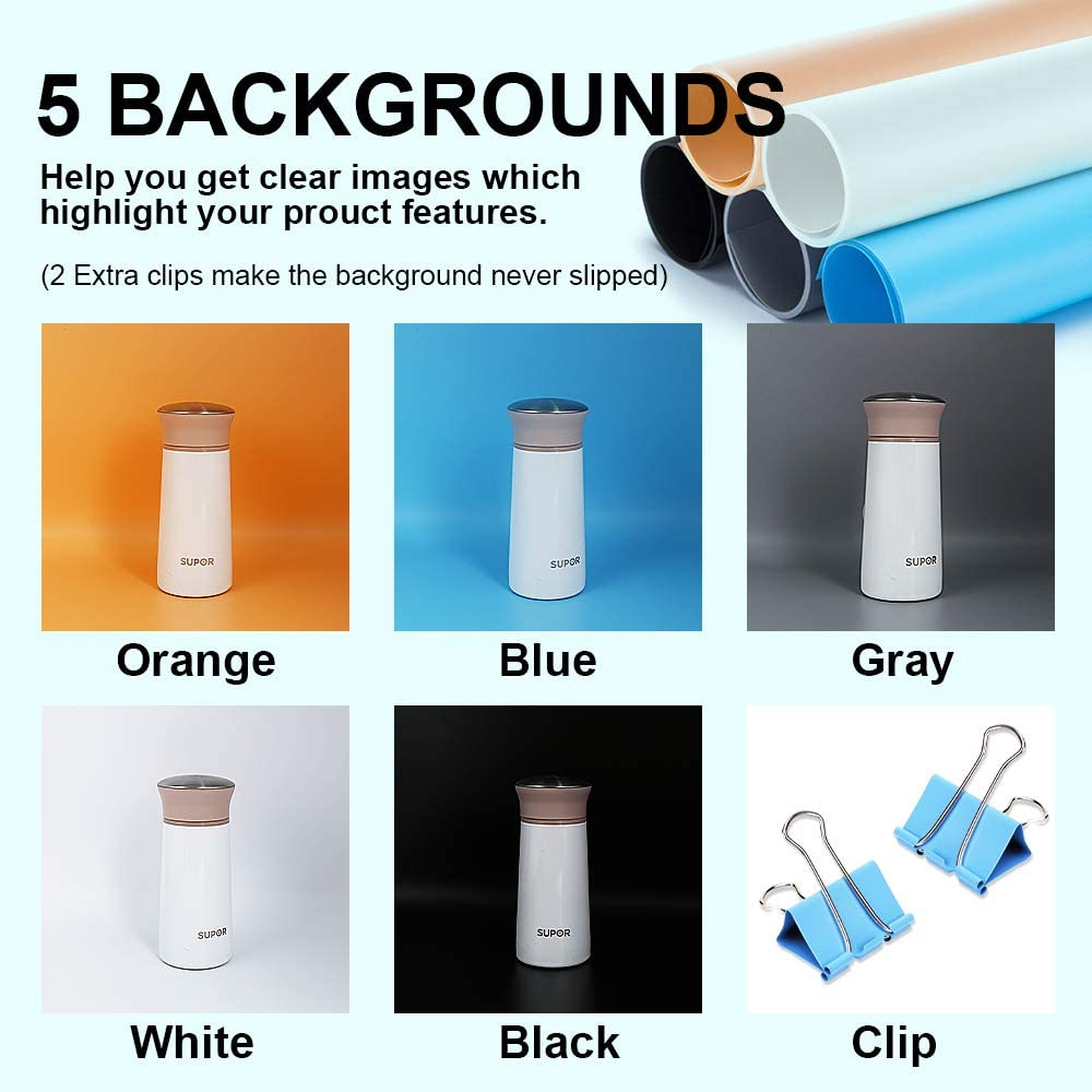 LED Lights and 5 Backdrops for Product Photography 24x24x24 Inches Portable Foldable Photography Light Box Shooting Tent with Dimmable High CRI95 Photo Studio Box