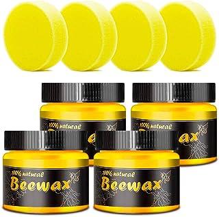 Jillbang Beewax-Möbelpflege Bienenwachs,Poliermittel für Holz und Möbel, Natürliche Holzpflege Bienenwachs Wasserdicht Abriebfest 4x 85g mit 4 Schwamm