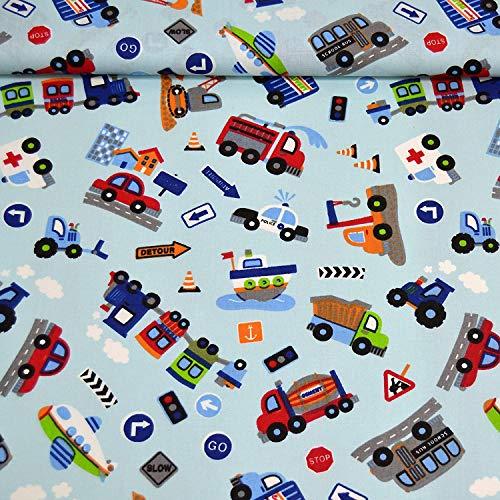MAGAM-Stoffe Bunte Autowelt Baumwollstoff Kinderstoff 100{32306491d1c43eecb788f9063f921c0a2c334f8b2c51d40413c96482b22c22a0} Baumwolle Oeko-Tex Meterware 50cm (Hellblau)