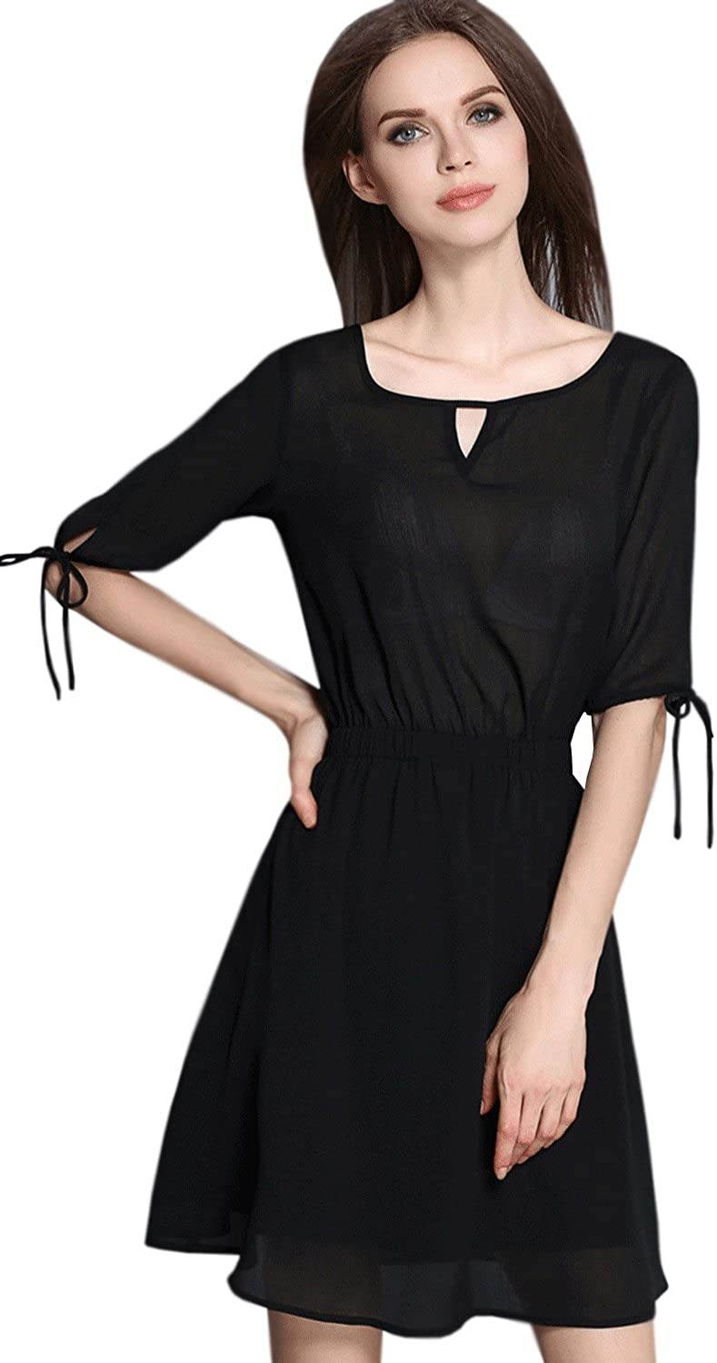 Unomatch Women Round Neck Elastic Waist Short Length Party Dress Black