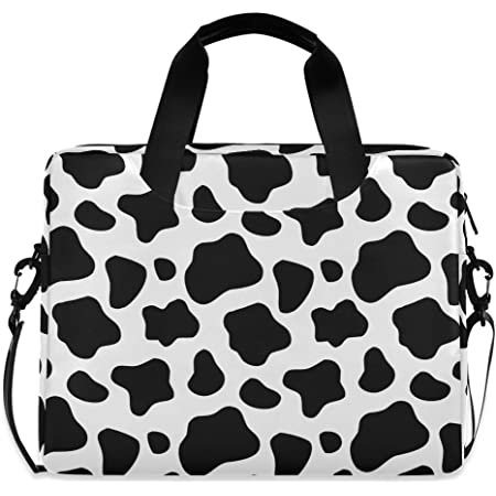 Laptop Sleeve Case,Black White Cow Print 14-14.5 inch Briefcase Messenger Notebook Computer Bag
