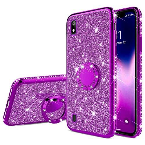 Jinghuash Funda para Samsung Galaxy A10,Estuche Glitter Sparkles Diamante Silicona Suave,Cubierta Gel TPU con Anillo,Bling,Funda Libro Protector Ultra Delgado,Estuche per Samsung Galaxy A10,Púrpura