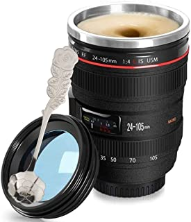 Coffee Mug-Camera Lens Travel Thermos Stainless Steel Insulated Lens Coffee Cup with Easy Clean Lid,Black - Photographer Camera Mug,Travel Coffee Cup Go with Stainless Steel Flower Spoon,Fanatek