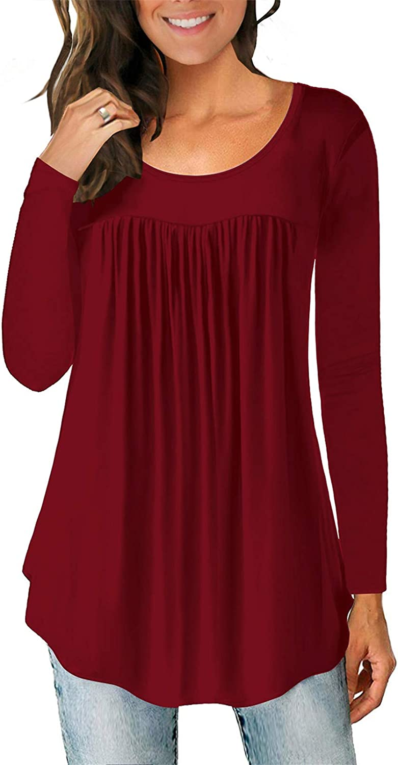 Womens Flare Top Casual Long Sleeve T Shirt Ruched Pleated O Neck Blouse