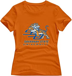 White 100% Cotton Savannah State Tigers T-shirts For Women