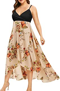 HAALIFE◕‿midi Length Dresses for Women Deep V-Neck Summer Beach Loose Baggy Sundress