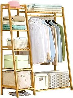 GWLGWL Portant Penderie à Vêtements en Bambou, Penderie en Bois avec 4 Etagères de Rangement étagère pour Chaussures pour...