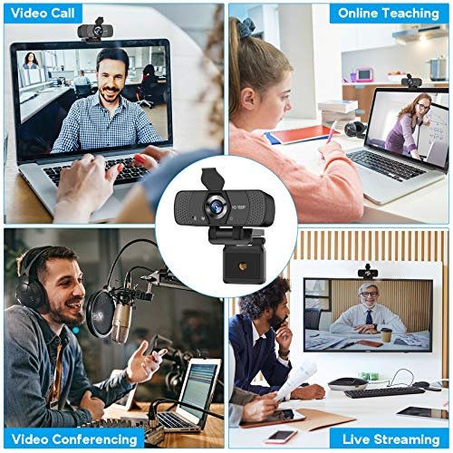 Adhope Full HD Webcam 1080p with Stereo Microphone for Laptop/PC, USB 2.0 Plug and Play Web Camera for Live Streaming and Video Chat, Recording, Compatible with Windows/Linux/Mac (with Cover & Tripod)