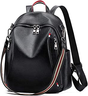 Xuan Yuan Backpack - Women's Wild College Wind Student Bag Simple Leisure Travel Zipper Soft Leather Bag Multi-Function Large Capacity Dual-use Backpack [Black] Backpack (Color : Black)
