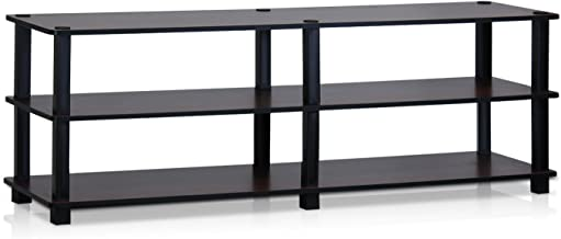 Furinno Turn-S-Tube No Tools 3-Tier Entertainment TV Stands, Dark Cherry/Black