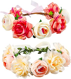 Flower Crown for Girls Women Baby, 2 Pack Adjustable Handmade Bridal Flower Wreath Headband, Halo Rose Crown, Floral Garland Headpiece for Wedding Family Traveling Photography