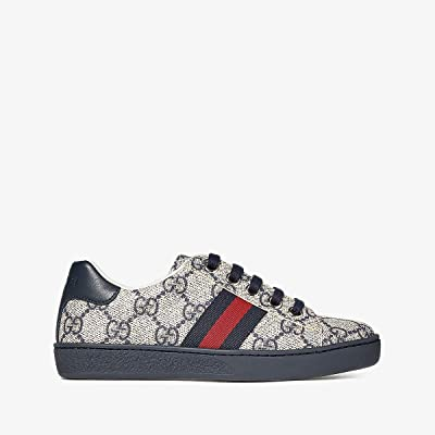 Gucci Kids GG Supreme Low-Top Sneakers (Little Kid) (Beige/Ink) Kids Shoes