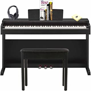 Yamaha YDP-143B Arius 88 Key Digital Piano with GHS Graded Hammer Keyboard & 2-track Recorder Bundle w/Matching Bench, Headphone, Teach Yourself to Play Piano (Book & DVD) and Zorro Piano Cloth