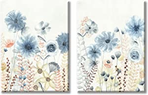 UTOP-art Abstract Flower Painting Wall Art: Modern Blue Floral Transparent Watercolor Artwork Print on canvas for Bathroom Decor