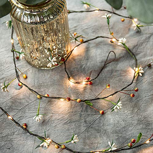 6.56 FT 20 LEDS Cherry Sand Beads String Lights Garland with Lights Fairy Lights Christmas Decoration Vine Lights Hanging Lights Battery Powered Twinkle Lights Indoor & Outdoor Winter New Year Decor