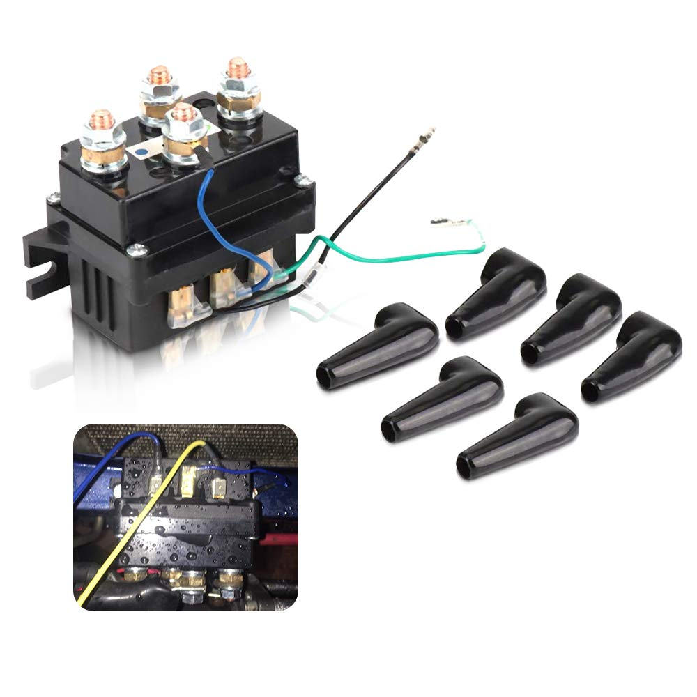 ISSYZONE 12V 400A Off-road Winch Rocker Thumb Switch with 6 Protecting caps for 2000-5000lbs Winch ATV UTV Solenoid Relay Winch Contactor Replacement
