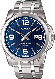 Casio Watch For Men MTP-1314D-2A Enticer Series Silver Band Blue Dial with Date Dress