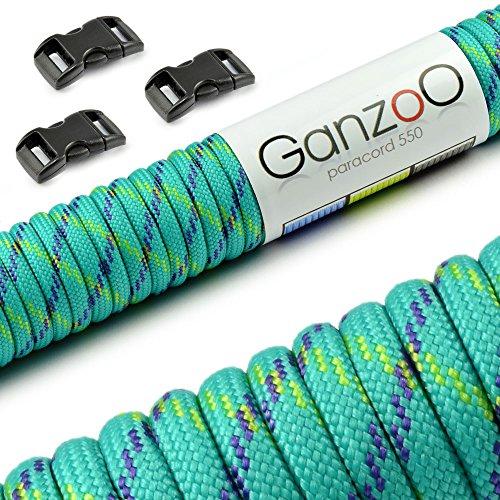 Ganzoo Set Iniziale Paracord 550, Corda con 3 Chiusure a Scatto (10 mm), Diversi Colori